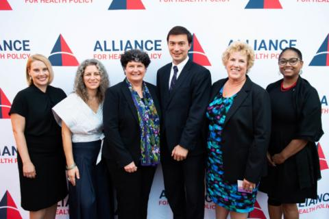 Alliance President and CEO Sarah Dash (left) with 2018 Alliance Annual Dinner Awardees. From left to right: Sarah Dash, Melanie Anne Egorin, Holly Harvey, Nick Uehlecke, Lori Wing-Heier, and Joseline Peña-Melnyk. Photo by Joy Asico.